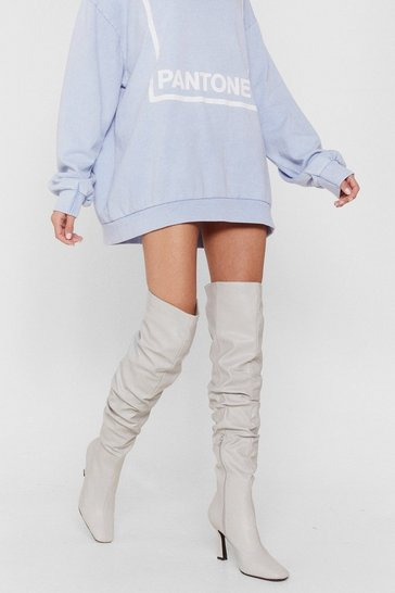 Grey Ask Me Thigh High Slouchy Heeled Boots