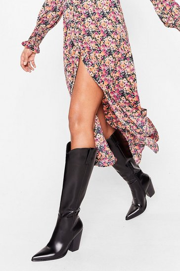 Black Western Heeled Knee-High Boots