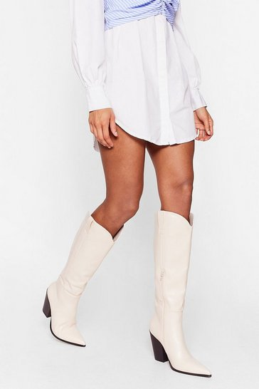 Cream Faux Leather Western Knee High Heeled Boots