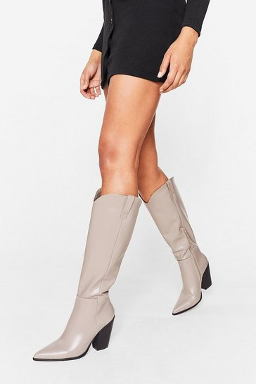 Grey Faux Leather Western Knee High Heeled Boots