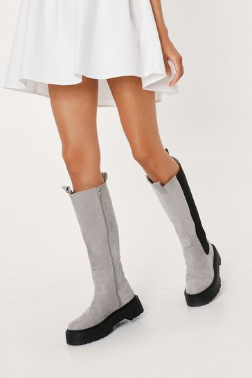 Grey Chelsea It My Way Calf High Wellie Boots