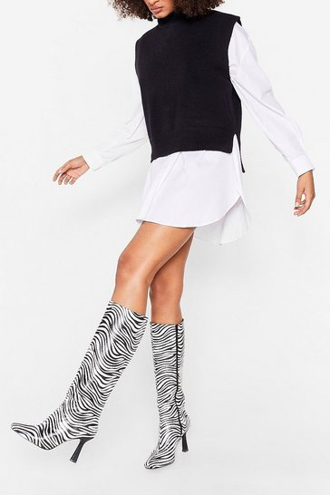 White Faux Leather Zebra Knee High Heeled Boots