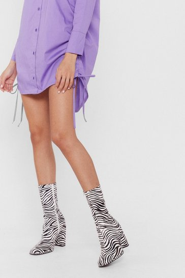 White Zebra Print Heeled Sock Boots