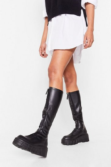 Black Faux Leather Calf High Cleated Wellie Boots