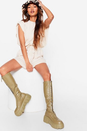 Olive Zip the Drama Calf High Wellie Boots