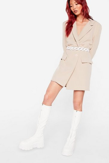 White Faux Leather Calf High Cleated Wellie Boots