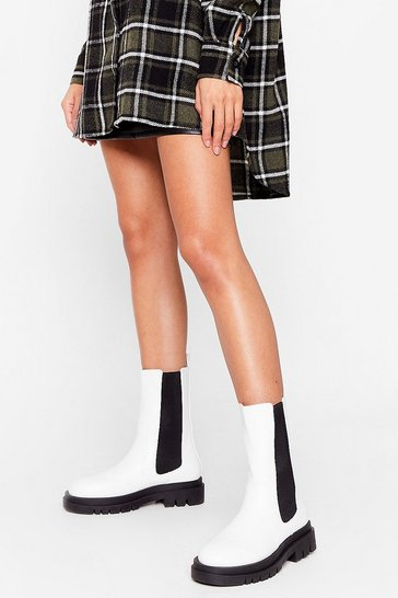 White Chelsea You Soon Pull-On High Ankle Boots