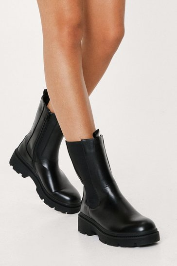Black It's Clear to Chelsea High Ankle Cleated Boots