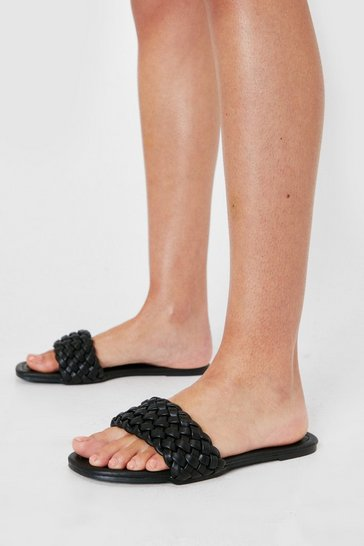 Black Faux Leather Woven Strap Flat Mules