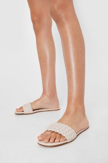 Cream Faux Leather Woven Strap Flat Mules