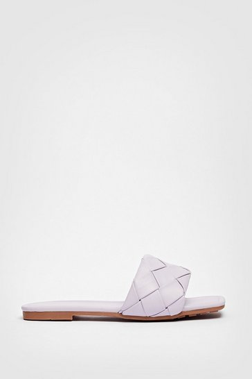 Lilac Faux Leather Square Toe Woven Flat Mules