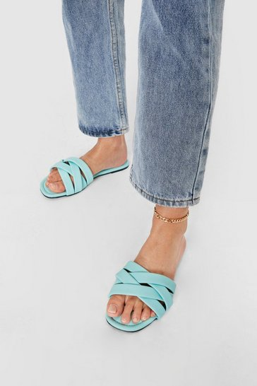Peppermint Faux Leather Padded Strappy Flat Mules