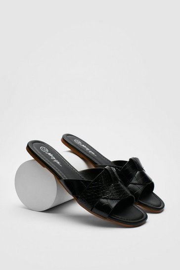 Black Croc Faux Leather Flat Square Toe Mules