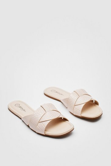 Cream Croc Faux Leather Flat Square Toe Mules