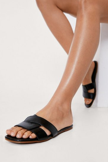 Black Textured Faux Leather Strappy Flat Mules