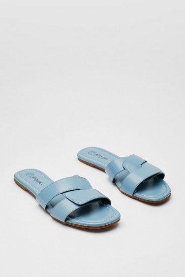 Light blue Textured Faux Leather Strappy Flat Mules