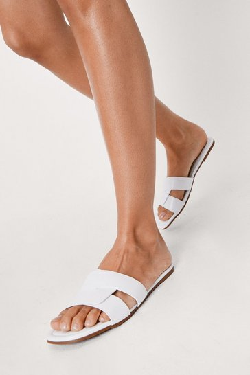 White Textured Faux Leather Strappy Flat Mules