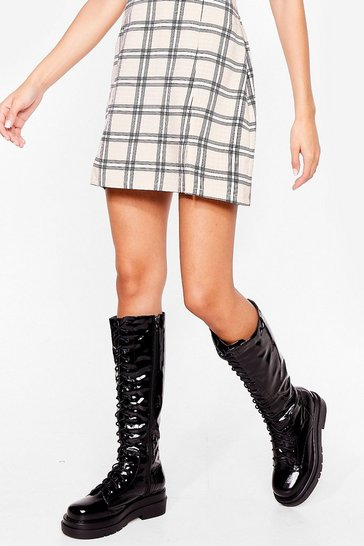 Black Patent Lace Up Knee High Boots