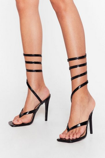 Black Croc Embossed Wrap Around Stiletto Heels
