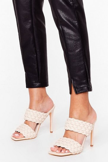Cream Faux Leather Woven Open Toe Stiletto Mules