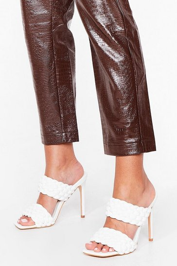 White Faux Leather Woven Open Toe Stiletto Mules