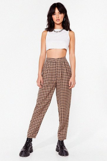 Beige Go Check Yourself High-Waisted Tapered Pants
