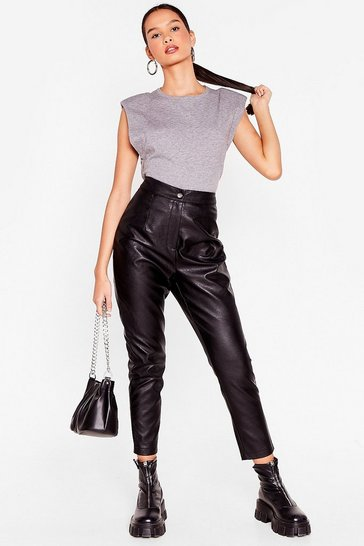 Black Let's Taper Our Time Faux Leather Pants