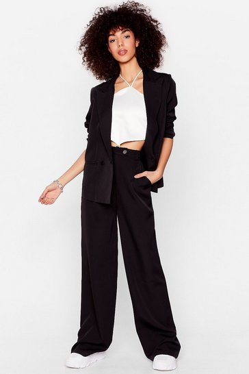 Black Striding It Out Wide-Leg High-Waisted Trousers
