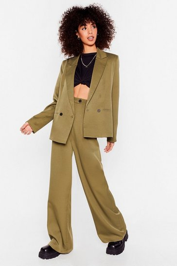 Olive Striding It Out Wide-Leg High-Waisted Pants