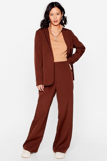 Chocolate Board Meeting High-Waisted Wide-Leg Pants