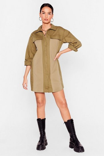 Khaki Don't Believe Me Just Wash Denim Mini Dress