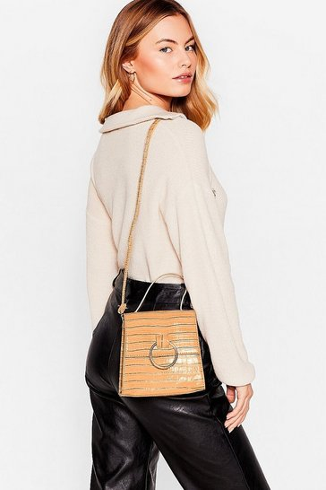 Nude WANT Oh Croc Off Faux Leather Crossbody Bag