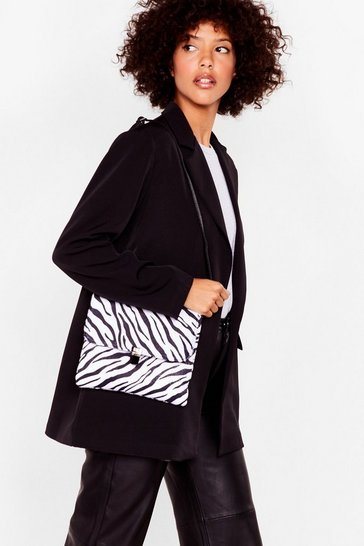 Black WANT Pouch That Hurt Zebra Crossbody Bag