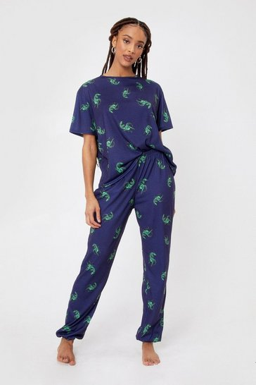 Navy Dinosaur T-Shirt and Sweatpants Pyjama Set