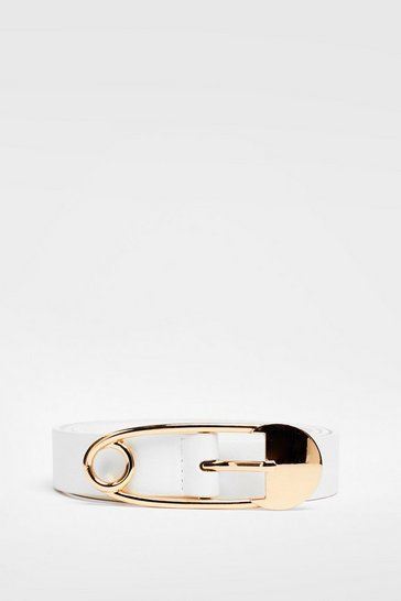 White Seal the Deal Paperclip Faux Leather Belt