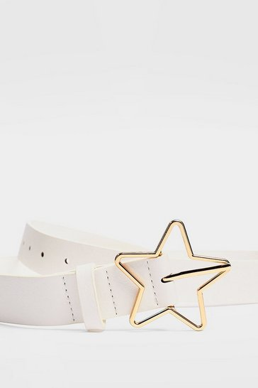 White Give It a Kick Star-t Faux Leather Belt