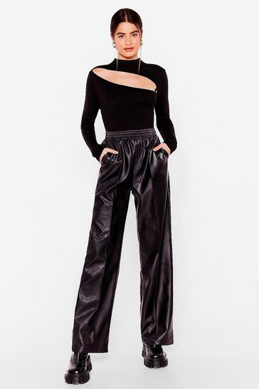 Black Faux Leather Forget That Wide-Leg Pants