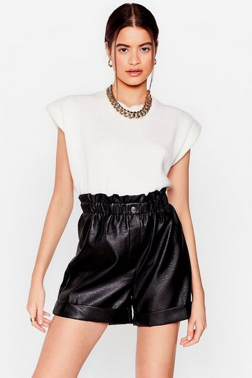 Black They're Old News Faux Leather Paperbag Shorts