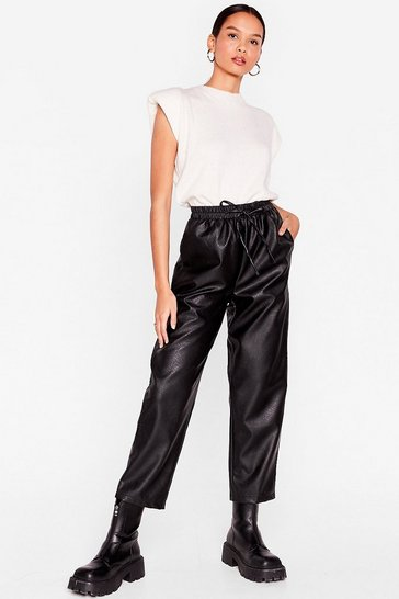 Black Faux Leather Called You Back Relaxed Jogger Pants