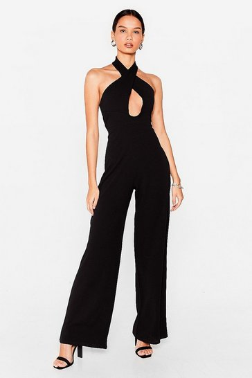 Black Wait It Cut-Out Halter Wide-Leg Jumpsuit