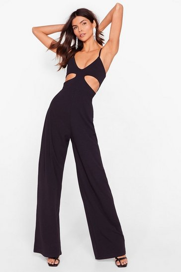 Black The Truths Cut-Out Wide-Leg Jumpsuit