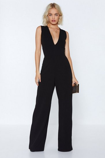 Black Takin' a Plunge V-Neck Wide-Leg Jumpsuit