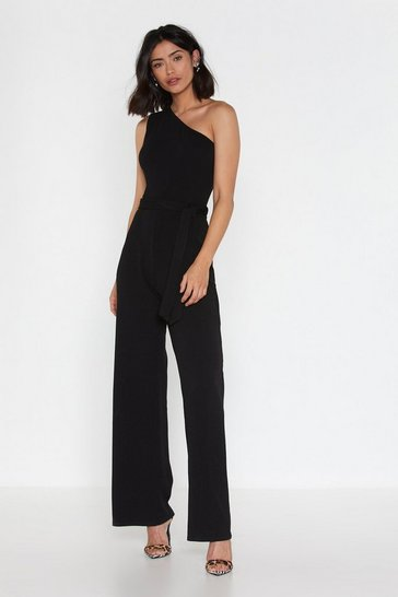 Black On the Other Side One Shoulder Belted Jumpsuit