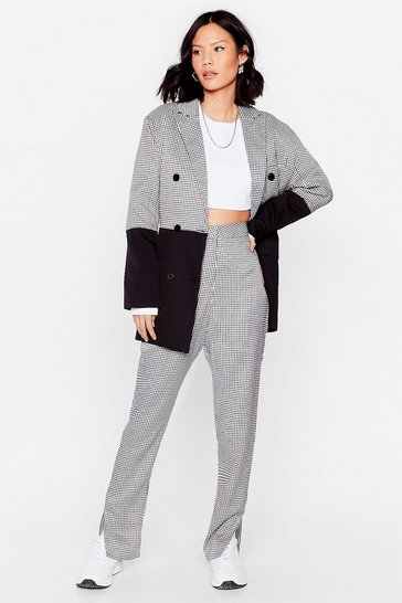 Black Houndstooth Relaxed Slit Hem Pants
