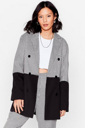 Black Colorblock 'Em Double Breasted Houndstooth Blazer