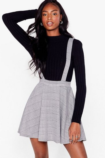Grey Since I Houndstooth You Overall Mini Dress