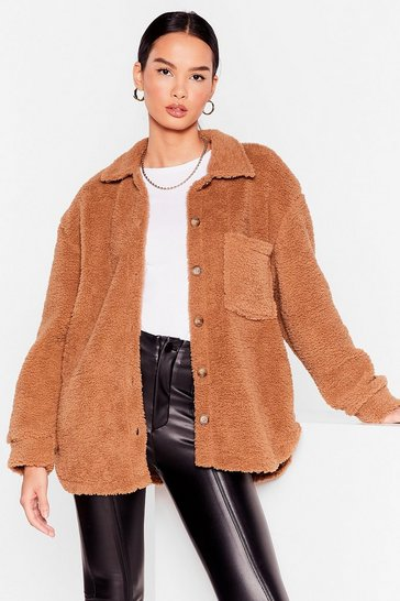 Camel Warm Up to 'Em Faux Shearling Shirt Jacket