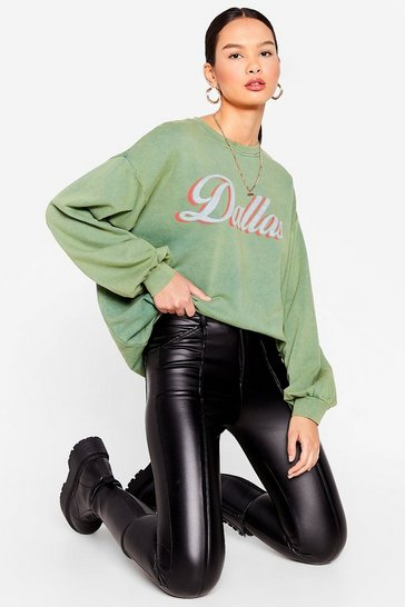 Bottle green Dallas Graphic Acid Wash Sweatshirt