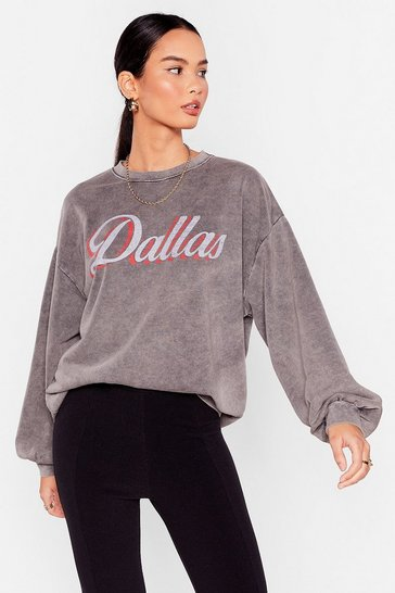 Charcoal Dallas Graphic Acid Wash Sweatshirt