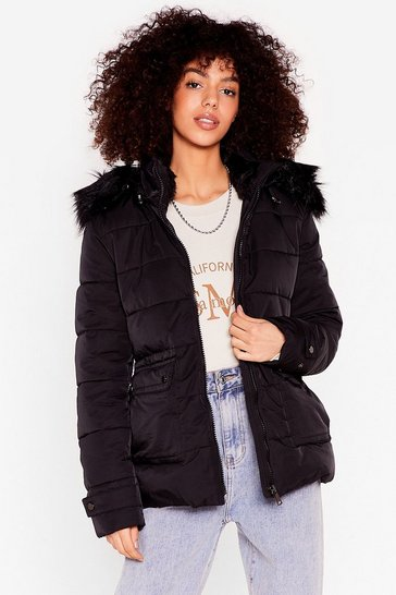 Black Taking Cover Padded Faux Fur Jacket